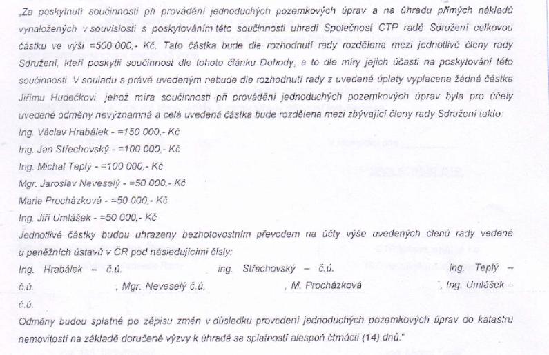 Odměny CTP zástupcům města
